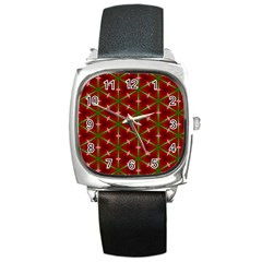 Textured Background Christmas Pattern Square Metal Watch by Celenk