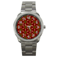 Textured Background Christmas Pattern Sport Metal Watch by Celenk