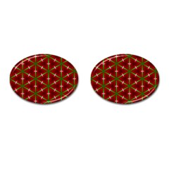 Textured Background Christmas Pattern Cufflinks (oval) by Celenk