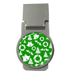 Green White Backdrop Background Card Christmas Money Clips (round)  by Celenk