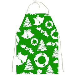 Green White Backdrop Background Card Christmas Full Print Aprons by Celenk