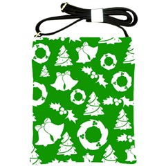 Green White Backdrop Background Card Christmas Shoulder Sling Bags by Celenk