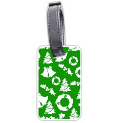 Green White Backdrop Background Card Christmas Luggage Tags (two Sides)