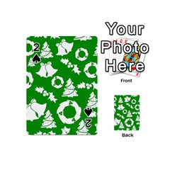 Green White Backdrop Background Card Christmas Playing Cards 54 (mini)  by Celenk