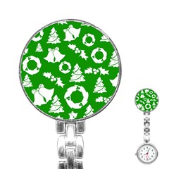 Green White Backdrop Background Card Christmas Stainless Steel Nurses Watch by Celenk