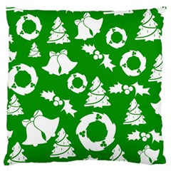 Green White Backdrop Background Card Christmas Large Flano Cushion Case (two Sides) by Celenk