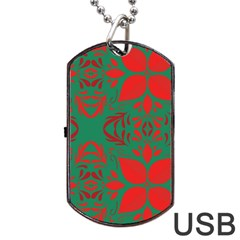 Christmas Background Dog Tag Usb Flash (one Side) by Celenk