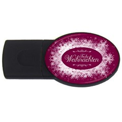 Christmas Card Red Snowflakes Usb Flash Drive Oval (2 Gb) by Celenk