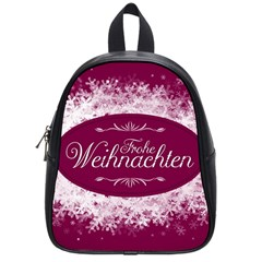 Christmas Card Red Snowflakes School Bag (small) by Celenk