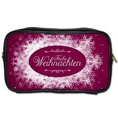 Christmas Card Red Snowflakes Toiletries Bags by Celenk