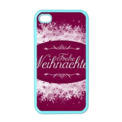 Christmas Card Red Snowflakes Apple Iphone 4 Case (color) by Celenk