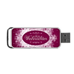 Christmas Card Red Snowflakes Portable Usb Flash (two Sides) by Celenk
