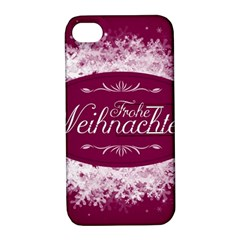 Christmas Card Red Snowflakes Apple Iphone 4/4s Hardshell Case With Stand by Celenk