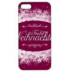 Christmas Card Red Snowflakes Apple Iphone 5 Hardshell Case With Stand by Celenk