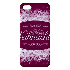 Christmas Card Red Snowflakes Apple Iphone 5 Premium Hardshell Case by Celenk