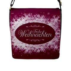 Christmas Card Red Snowflakes Flap Messenger Bag (l)  by Celenk