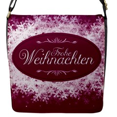 Christmas Card Red Snowflakes Flap Messenger Bag (s) by Celenk