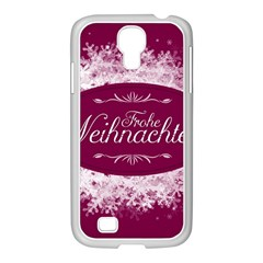 Christmas Card Red Snowflakes Samsung Galaxy S4 I9500/ I9505 Case (white) by Celenk