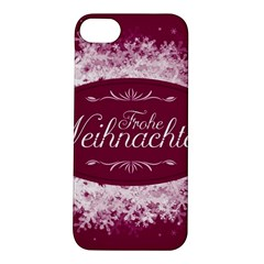 Christmas Card Red Snowflakes Apple Iphone 5s/ Se Hardshell Case by Celenk