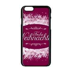 Christmas Card Red Snowflakes Apple Iphone 6/6s Black Enamel Case by Celenk