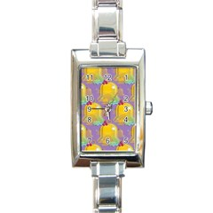 Seamless Repeat Repeating Pattern Rectangle Italian Charm Watch by Celenk