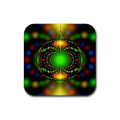 Christmas Ornament Fractal Rubber Square Coaster (4 Pack)  by Celenk