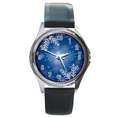 Snowflakes Background Blue Snowy Round Metal Watch by Celenk