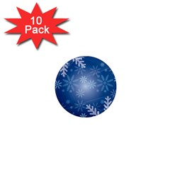 Snowflakes Background Blue Snowy 1  Mini Magnet (10 Pack)  by Celenk