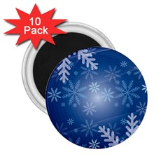 Snowflakes Background Blue Snowy 2 25  Magnets (10 Pack)  by Celenk