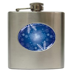 Snowflakes Background Blue Snowy Hip Flask (6 Oz) by Celenk