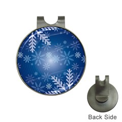 Snowflakes Background Blue Snowy Hat Clips With Golf Markers by Celenk