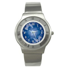 Snowflakes Background Blue Snowy Stainless Steel Watch by Celenk