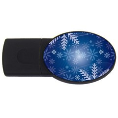 Snowflakes Background Blue Snowy Usb Flash Drive Oval (4 Gb) by Celenk