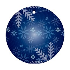 Snowflakes Background Blue Snowy Round Ornament (two Sides) by Celenk