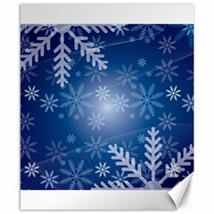 Snowflakes Background Blue Snowy Canvas 8  X 10  by Celenk