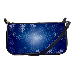 Snowflakes Background Blue Snowy Shoulder Clutch Bags by Celenk