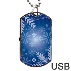 Snowflakes Background Blue Snowy Dog Tag Usb Flash (one Side)