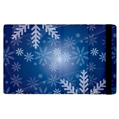 Snowflakes Background Blue Snowy Apple Ipad 3/4 Flip Case by Celenk