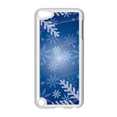 Snowflakes Background Blue Snowy Apple Ipod Touch 5 Case (white) by Celenk