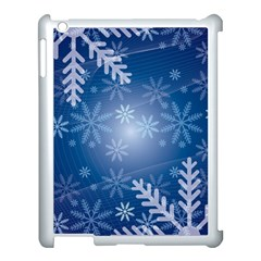 Snowflakes Background Blue Snowy Apple Ipad 3/4 Case (white) by Celenk
