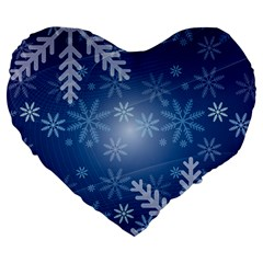 Snowflakes Background Blue Snowy Large 19  Premium Heart Shape Cushions by Celenk