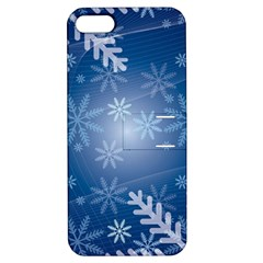 Snowflakes Background Blue Snowy Apple Iphone 5 Hardshell Case With Stand by Celenk