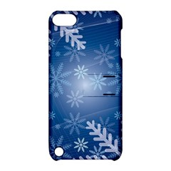 Snowflakes Background Blue Snowy Apple Ipod Touch 5 Hardshell Case With Stand by Celenk