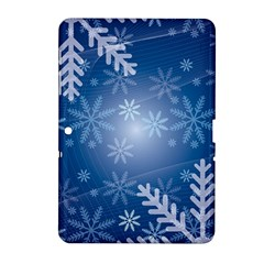 Snowflakes Background Blue Snowy Samsung Galaxy Tab 2 (10 1 ) P5100 Hardshell Case  by Celenk