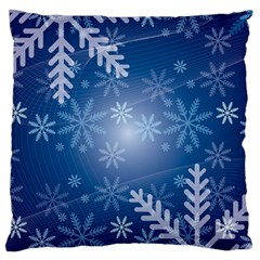 Snowflakes Background Blue Snowy Standard Flano Cushion Case (one Side)