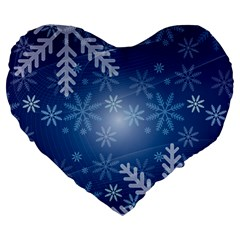 Snowflakes Background Blue Snowy Large 19  Premium Flano Heart Shape Cushions by Celenk