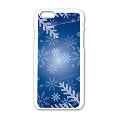 Snowflakes Background Blue Snowy Apple Iphone 6/6s White Enamel Case by Celenk