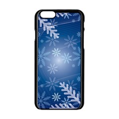 Snowflakes Background Blue Snowy Apple Iphone 6/6s Black Enamel Case by Celenk