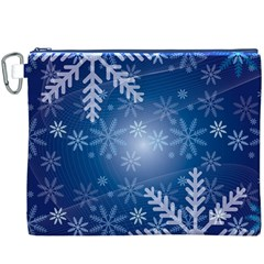 Snowflakes Background Blue Snowy Canvas Cosmetic Bag (xxxl) by Celenk