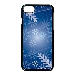 Snowflakes Background Blue Snowy Apple Iphone 7 Seamless Case (black) by Celenk
